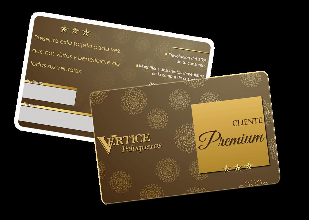 Tarjeta Cliente Premium de Vértice Peluqueros.